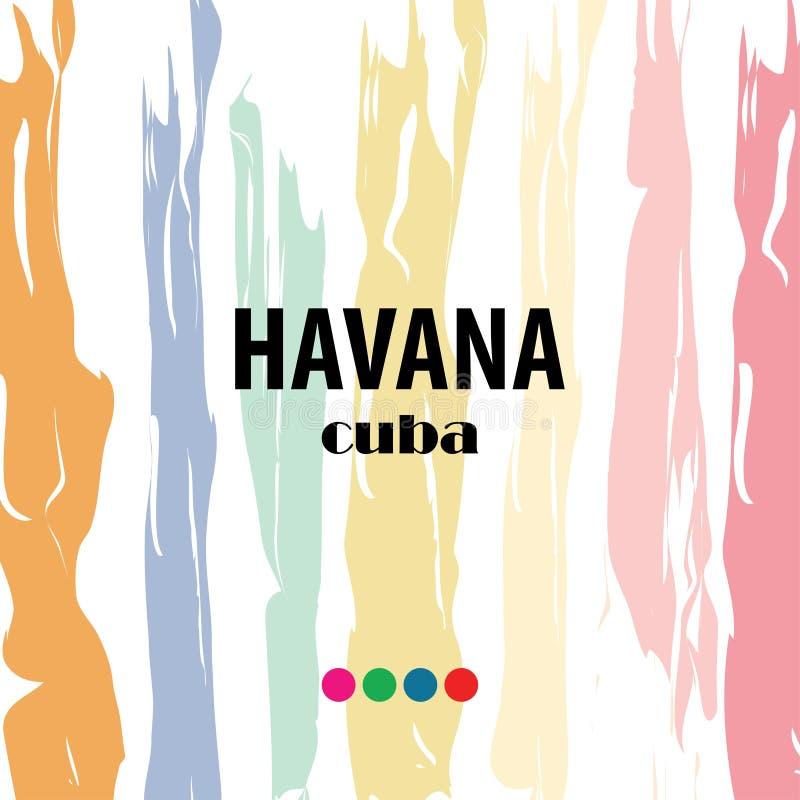 Mod?le ? la mode de vecteur avec des courses de brosse Carte abstraite de La Havane photos stock