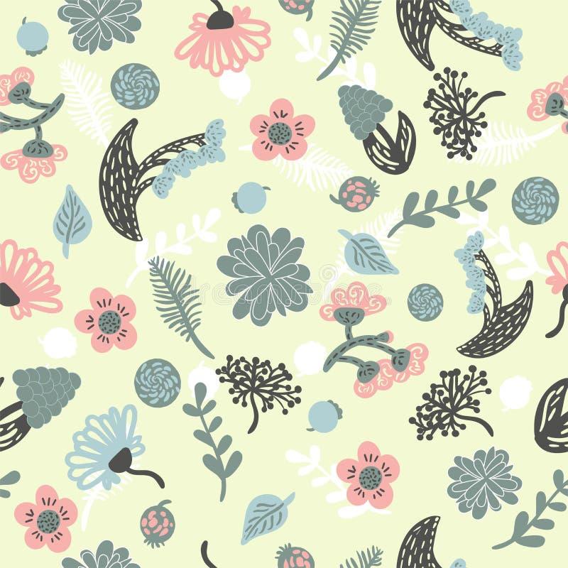 Mod?le mignon en petite fleur Petites fleurs color?es Fond blanc Fond floral ?cervel? image stock