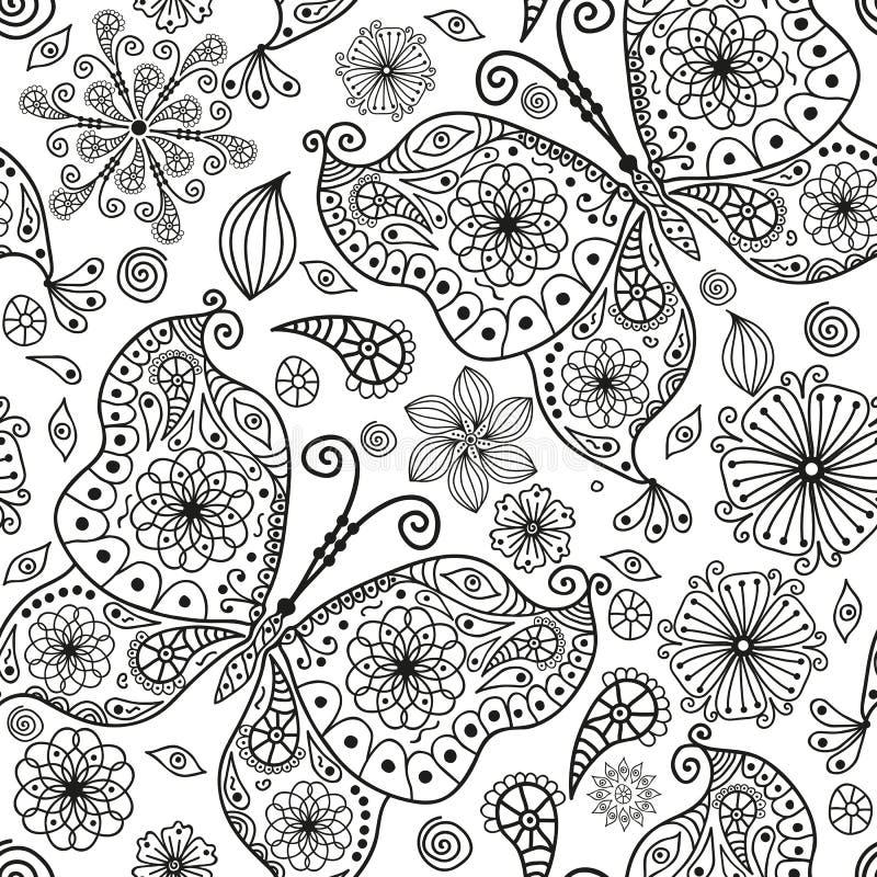 Mod?le monochromatique sans couture avec des papillons et des fleurs illustration de vecteur