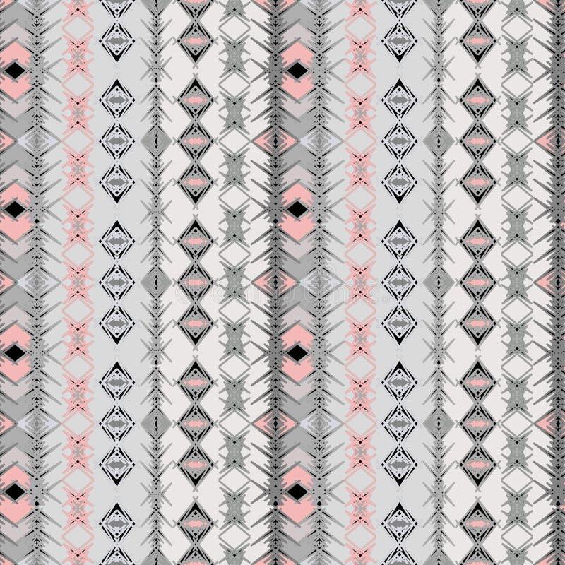 Mod?le ray? ethnique sans couture Fond gris et rose illustration stock