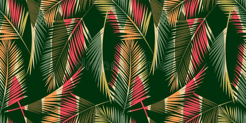 Mod?le sans couture abstrait avec les feuilles tropicales Texture d'aspiration de main illustration stock