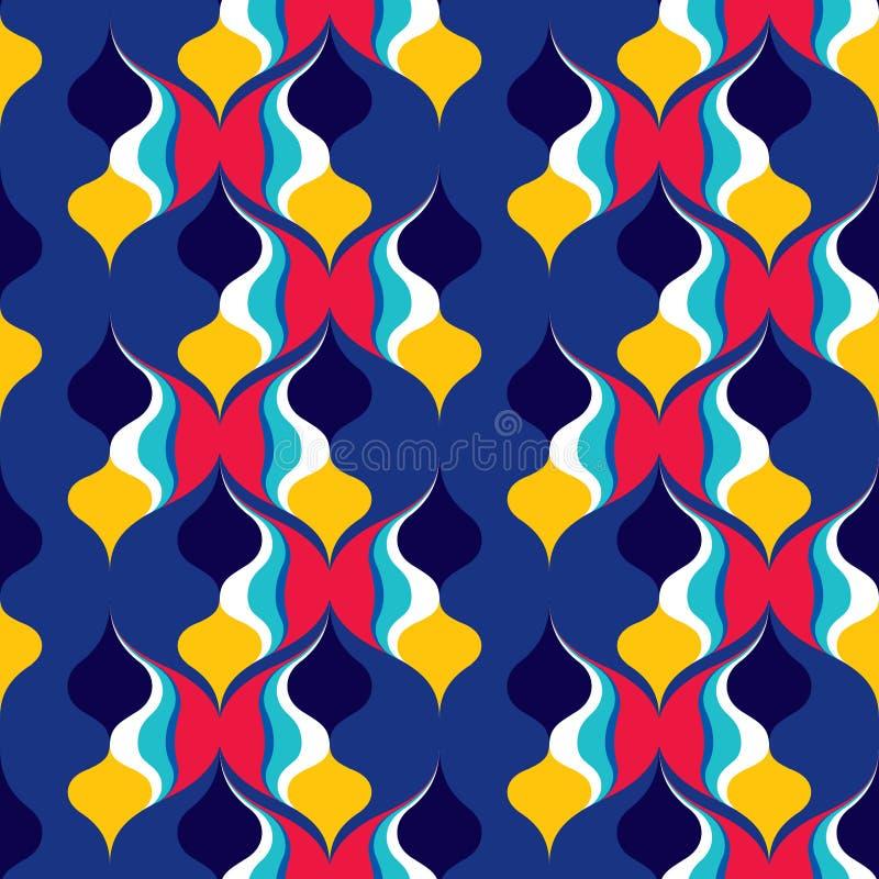 Mod?le sans couture abstrait des lignes onduleuses Formes g?om?triques arrondies illustration libre de droits