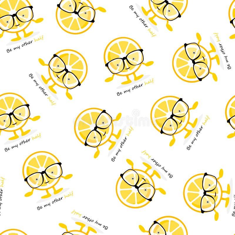 Mod?le sans couture avec le caract?re mignon de sourire de citron en verres Fruit jaune de bande dessin?e illustration libre de droits