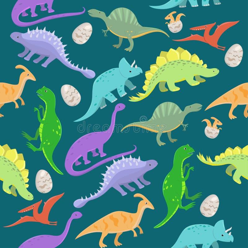 Mod?le sans couture avec des dinosaures de bande dessin?e Illustration de vecteur illustration libre de droits