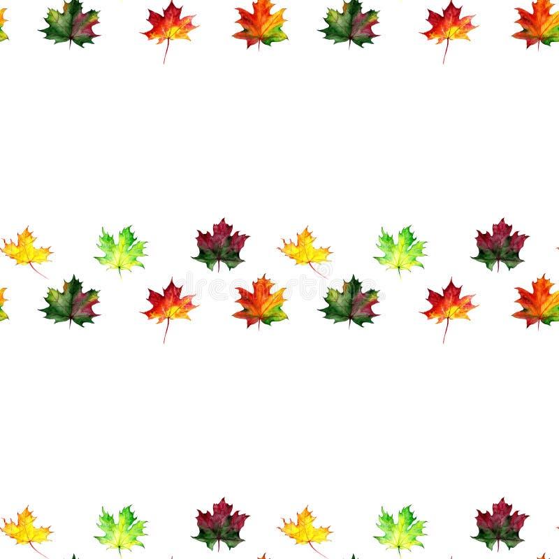 Mod?le sans couture avec des feuilles d'?rable d'automne Conception d'aquarelle pour le tissu, emballage, papier Tir? par la main illustration de vecteur
