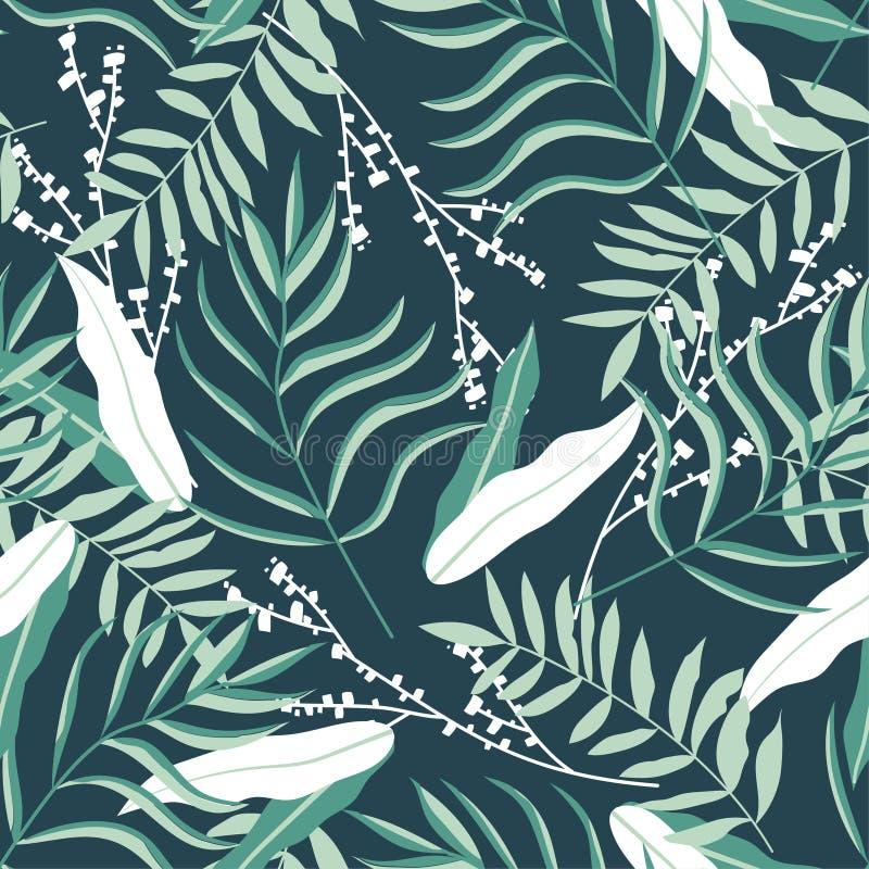 Mod?le sans couture avec des feuilles et des fleurs sur le fond vert Conception de vecteur Copie de jungle Impression et textiles illustration stock