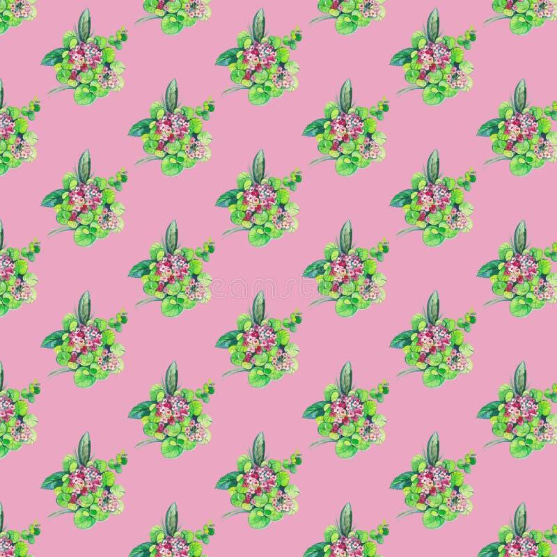 Mod?le sans couture avec des fleurs et des feuilles sur le fond rose illustration stock
