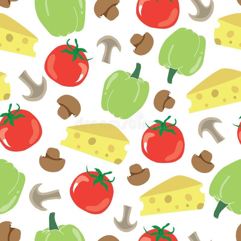 Mod?le sans couture avec des ingr?dients de nourriture fromage, tomate, champignons et paprika Fond de nourriture Conception d'il illustration stock
