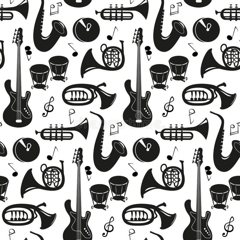 Mod?le sans couture avec des instruments de musique sur le fond blanc illustration stock
