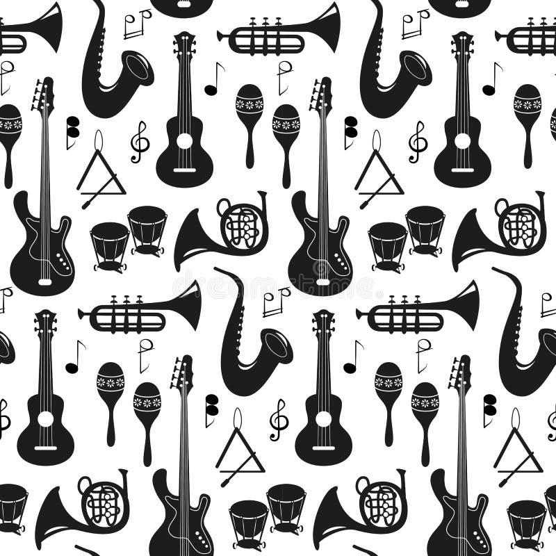 Mod?le sans couture avec des instruments de musique sur le fond blanc illustration de vecteur