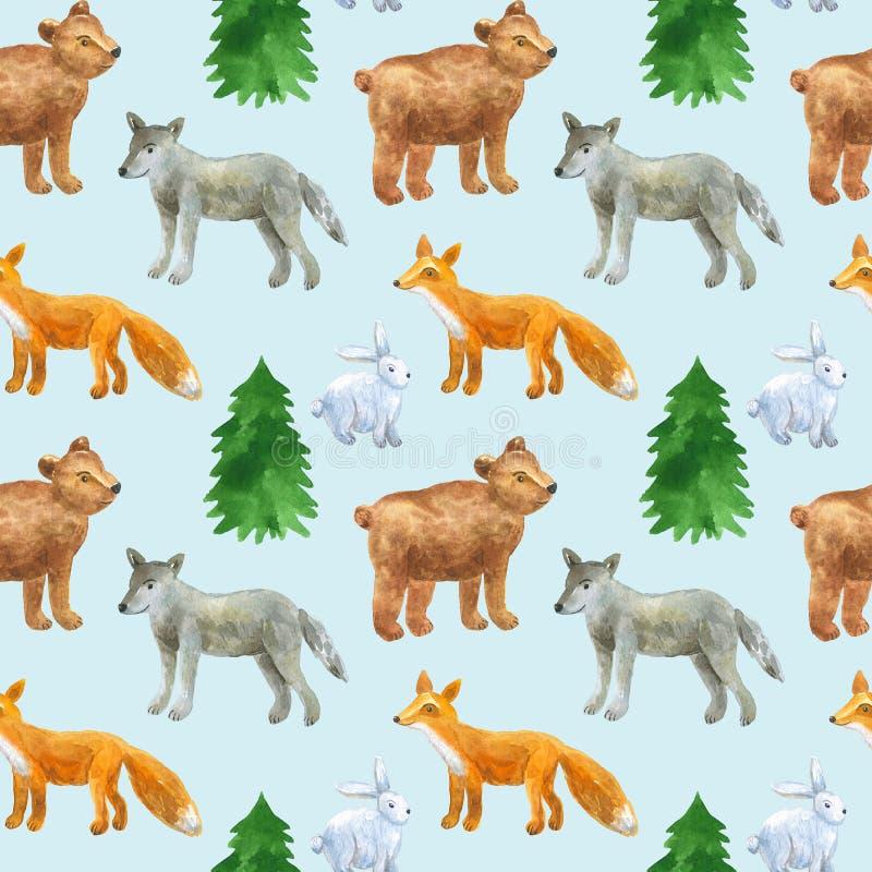 Mod?le sans couture avec les animaux mignons de for?t : loup, ours, renard, li?vre Illustration tir?e par la main d'aquarelle Tex illustration de vecteur