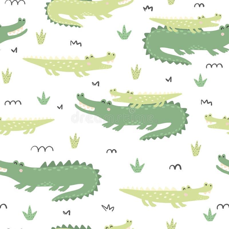 Mod?le sans couture avec les crocodiles mignons illustration libre de droits