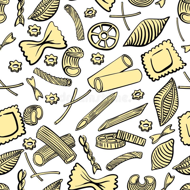 Mod?le sans couture avec les macaronis italiens de diff?rentes sortes Aspiration colorée de main sur le fond blanc illustration libre de droits