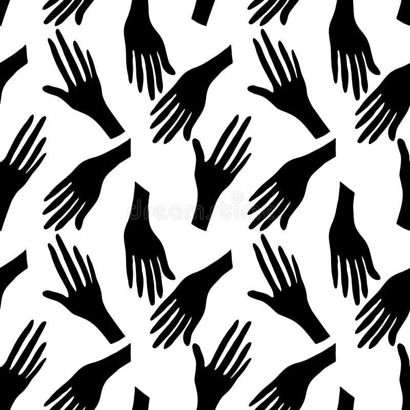 Mod?le sans couture avec les mains humaines Silhouette noire sur le fond blanc illustration stock