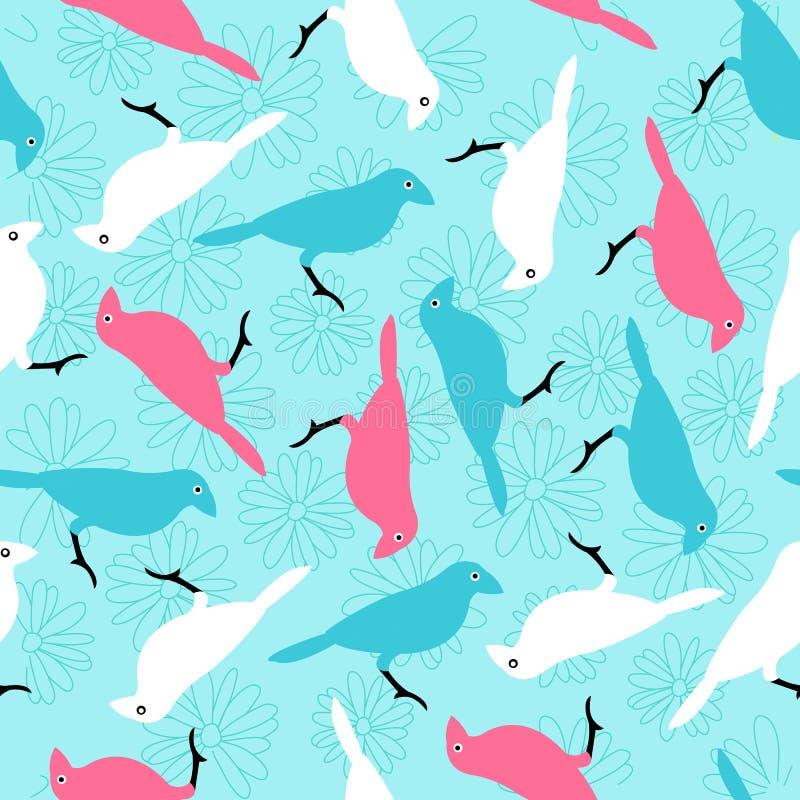 Mod?le sans couture avec les oiseaux et les fleurs color?s photo stock