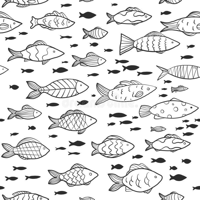 Mod?le sans couture avec les poissons dr?les petits et grands poissons sur le fond blanc images stock