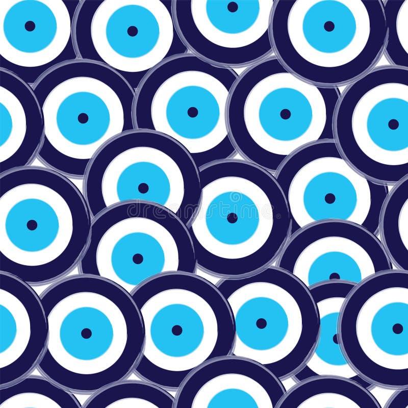 Mod?le sans couture avec le vecteur bleu d'oeil mauvais illustration de vecteur