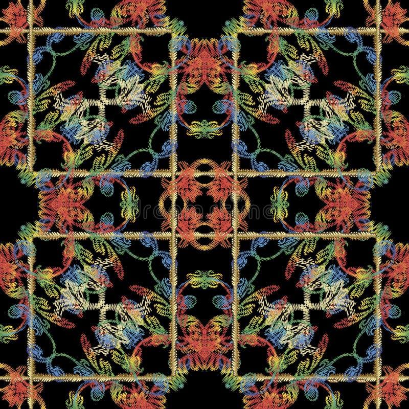 Mod?le sans couture baroque de broderie ray?e Fond de vecteur de cru Papier peint grunge abstrait Ornements floraux de tapisserie illustration de vecteur