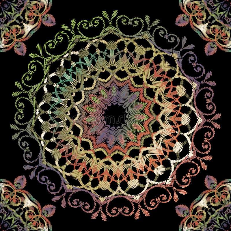 Mod?le sans couture baroque de mandala de broderie Ornement rond floral de tapisserie color?e de vecteur Texture grunge Fleurs br illustration stock