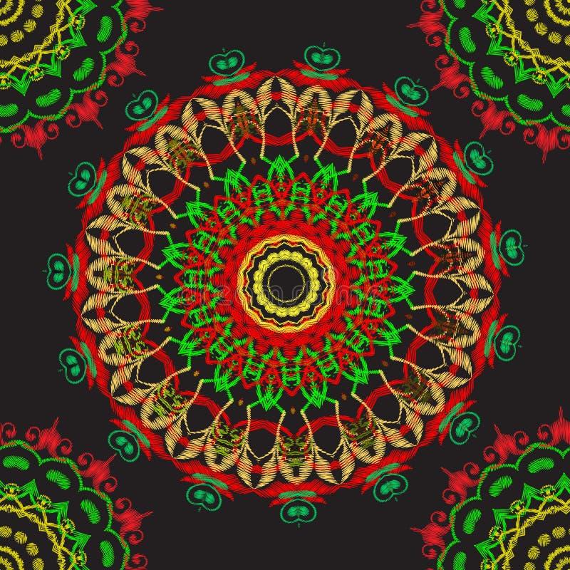 Mod?le sans couture baroque de mandala de broderie Ornement rond floral de tapisserie color?e de vecteur Texture piquante grunge  illustration de vecteur