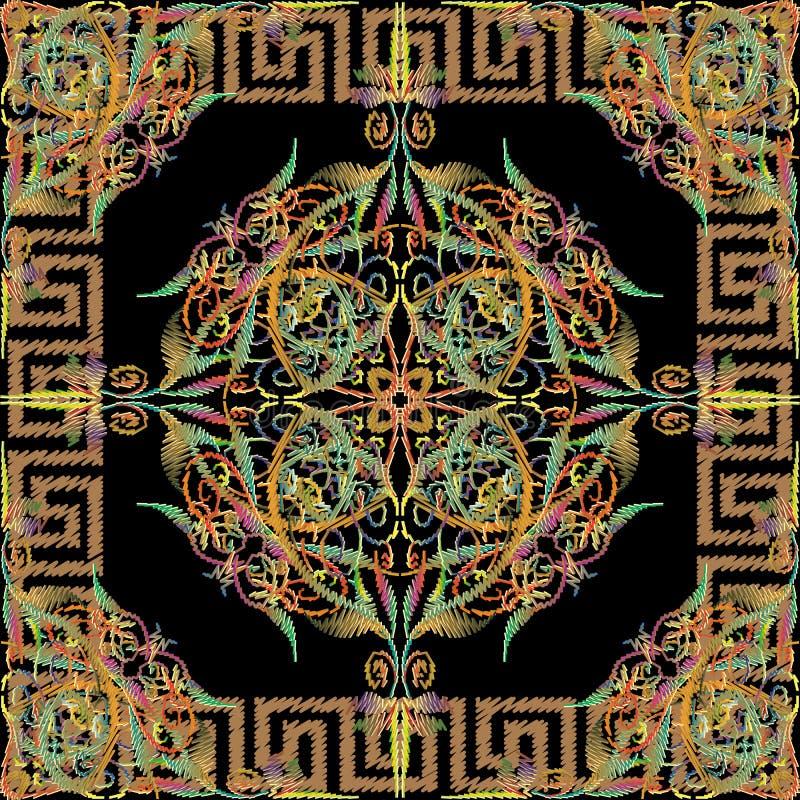 Mod?le sans couture color? de broderie Fond floral de tapisserie de vecteur La clé grecque serpente cadre grunge carré moderne g? illustration stock