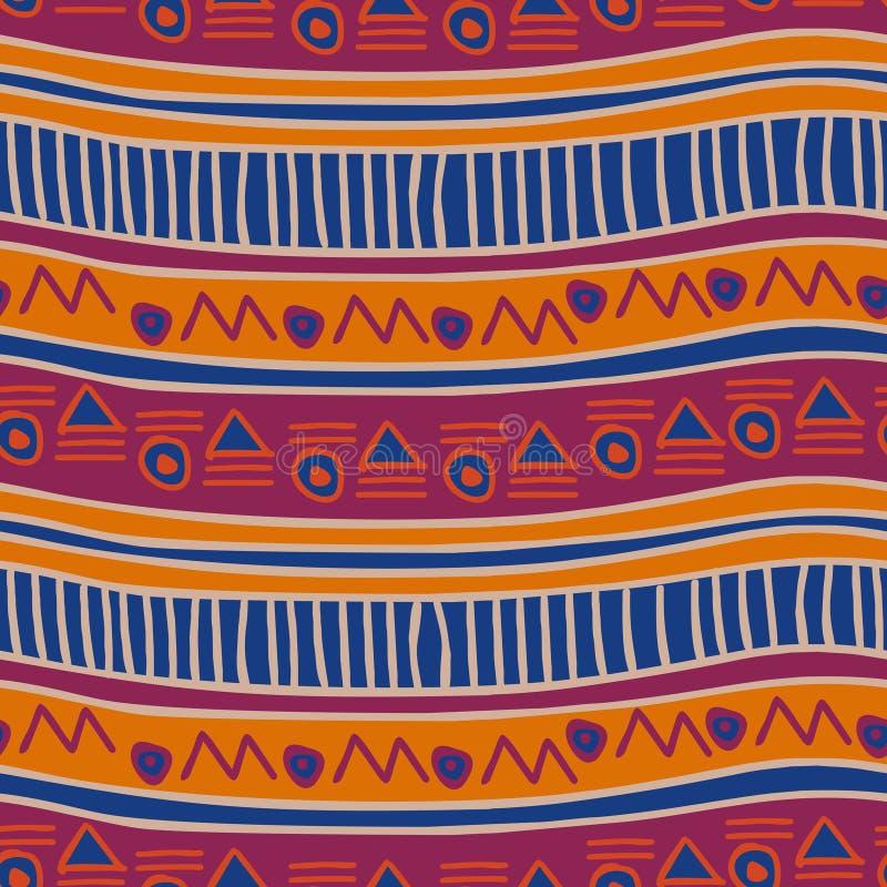Mod?le sans couture color? ethnique Style antique tiré par la main de cru de rayures illustration de vecteur