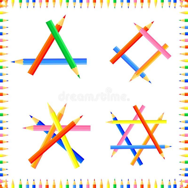 Mod?le sans couture color? par vecteur Les rang?es des crayons aigus forment un cadre illustration de vecteur
