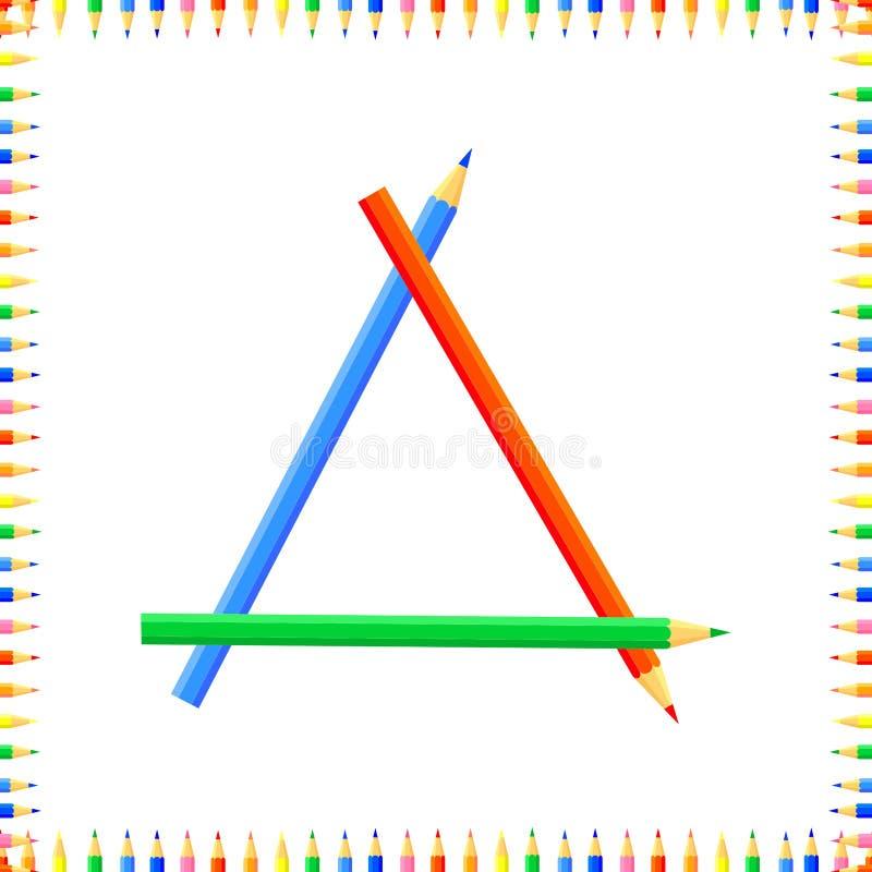 Mod?le sans couture color? par vecteur Les rang?es des crayons pointus color?s forment un cadre illustration de vecteur