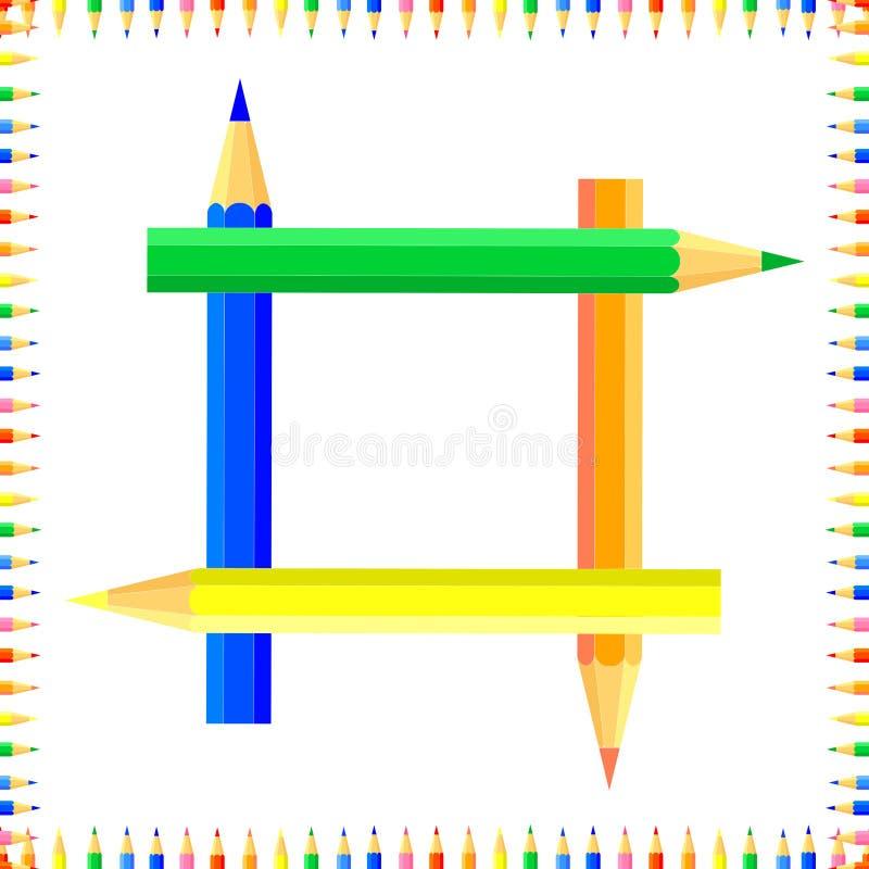 Mod?le sans couture color? par vecteur Les rang?es des crayons pointus color?s forment un cadre illustration libre de droits