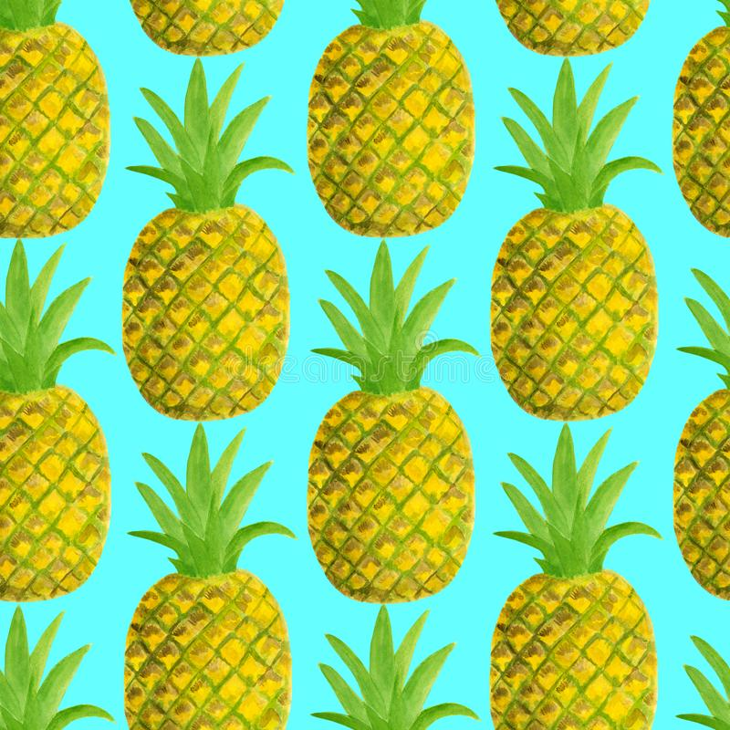 Mod?le sans couture d'ananas d'aquarelle Illustration tirée par la main de fruits tropicaux d'isolement sur le fond bleu Concepti illustration stock