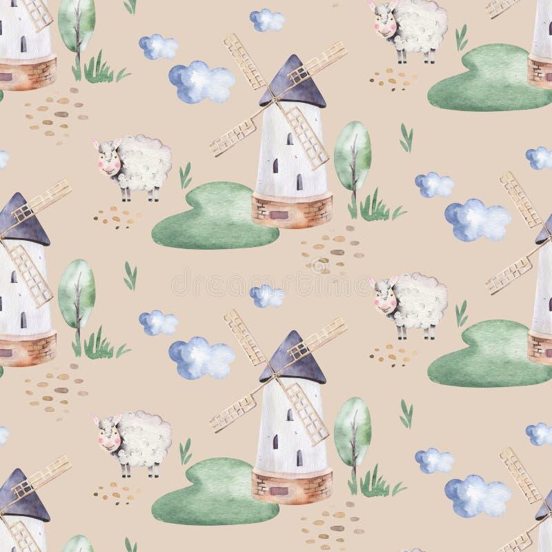 Mod?le sans couture d'aquarelle avec les animaux de ferme mignons avec la ch?vre, le cheval, l'oie et la vache poulet, moutons et illustration libre de droits