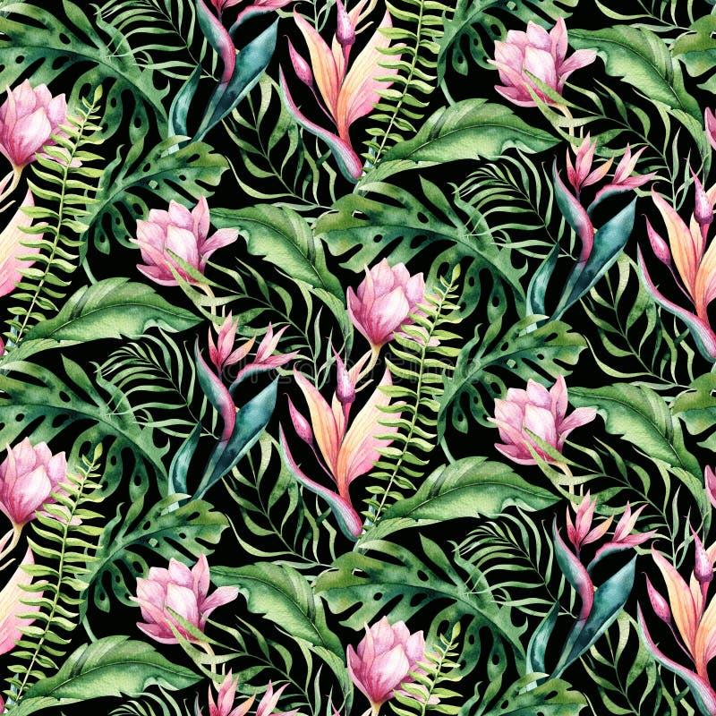 Mod?le sans couture d'aquarelle de flamant tropical tir? par la main d'oiseau Illustrations roses exotiques d'oiseau, arbre de ju illustration stock