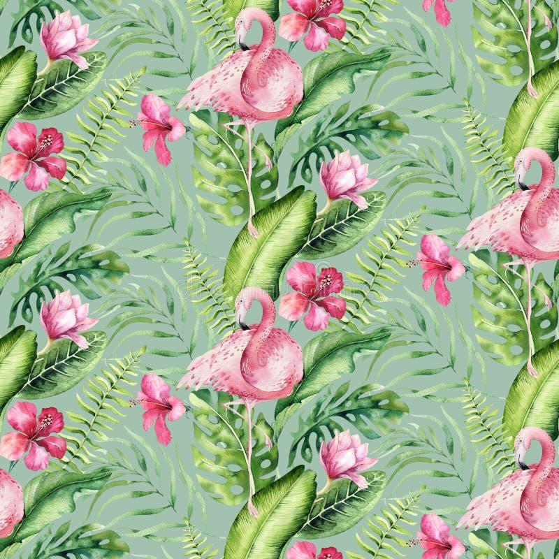 Mod?le sans couture d'aquarelle de flamant tropical tir? par la main d'oiseau Illustrations roses exotiques d'oiseau, arbre de ju illustration libre de droits