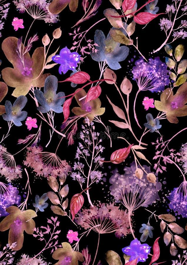Mod?le sans couture d'aquarelle, fond avec un mod?le floral Beaux dessins de cru des usines, fleurs, branche de saule, baie illustration stock
