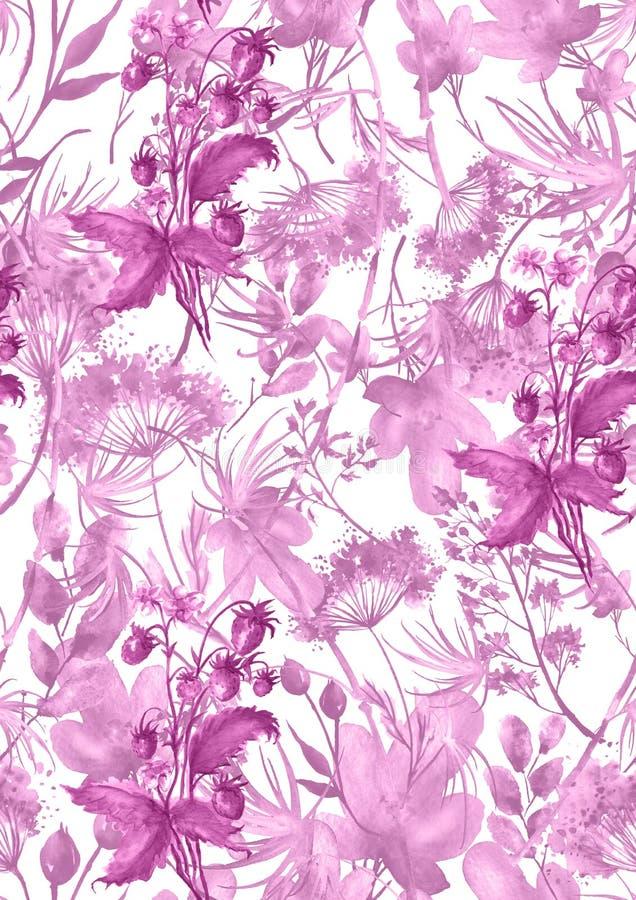 Mod?le sans couture d'aquarelle, fond avec un mod?le floral Beaux dessins de cru des usines, fleurs, branche de saule, baie illustration de vecteur