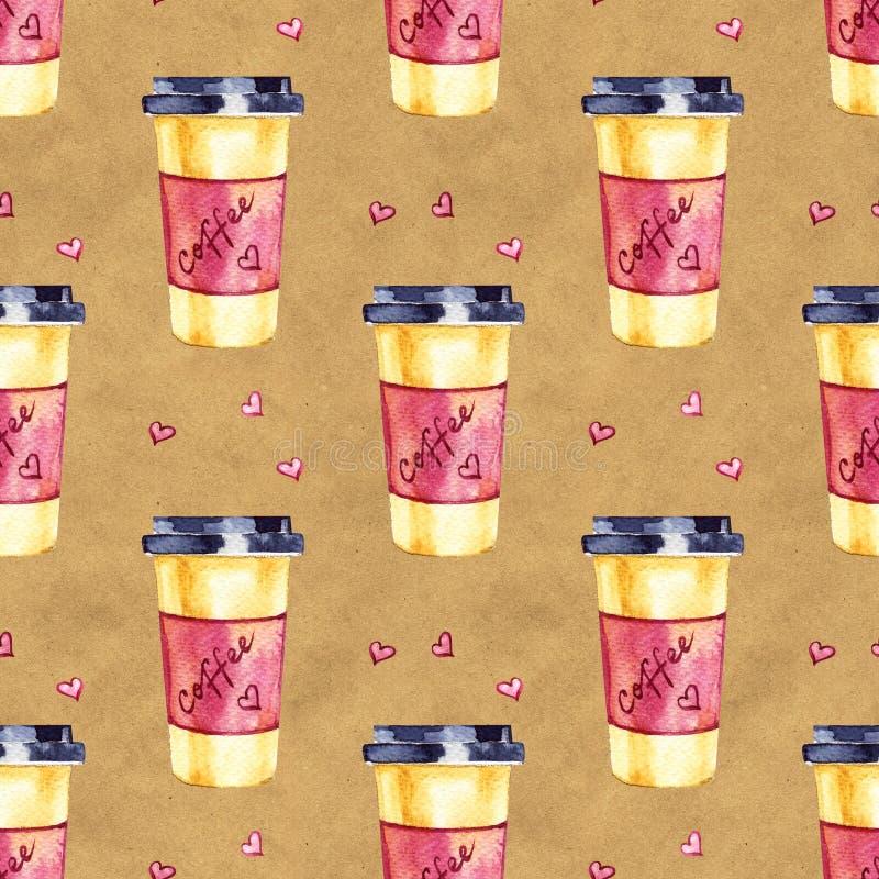 Mod?le sans couture d'aquarelle Illustration peinte à la main de café Perfectionnez pour l'habillement, tissu, textile photos libres de droits