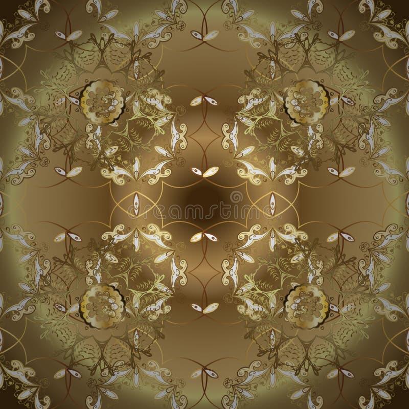Mod?le sans couture d'or de vecteur classique illustration libre de droits