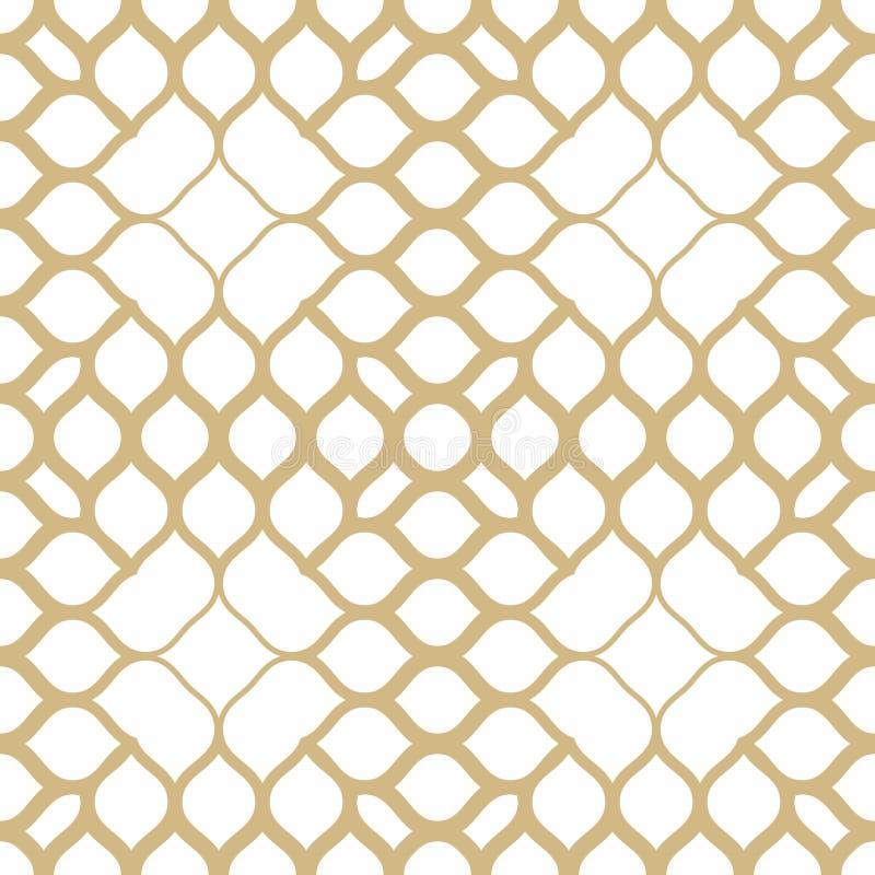 Mod?le sans couture d'or de vecteur Texture abstraite avec la maille, filet, pétales, feuilles illustration libre de droits