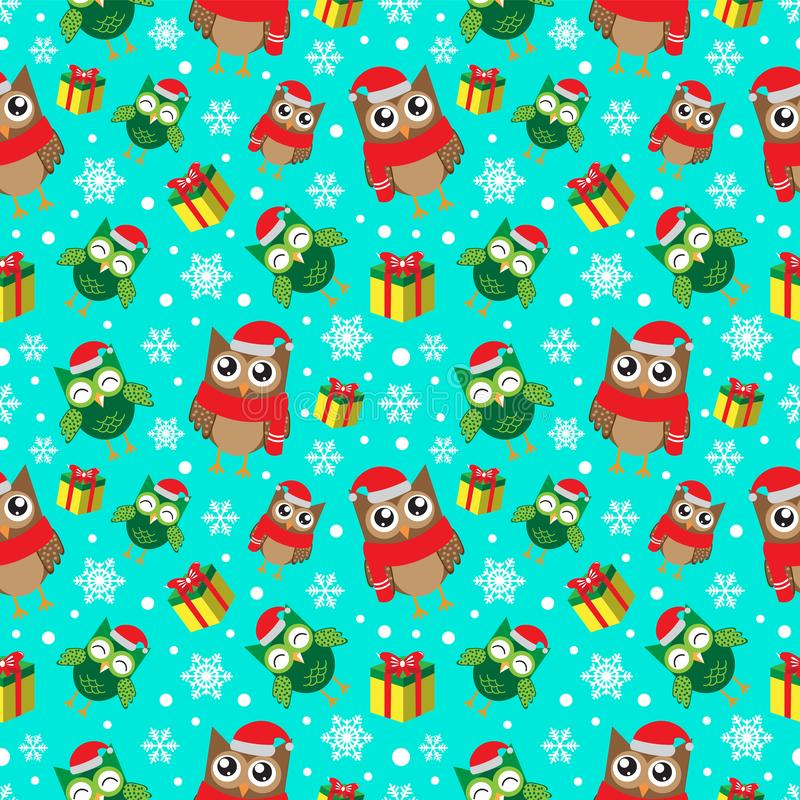 Mod?le sans couture d'hiver avec des flocons de neige, des hiboux et des cadeaux Fond d'an neuf heureux et de Joyeux No?l Vecteur illustration stock