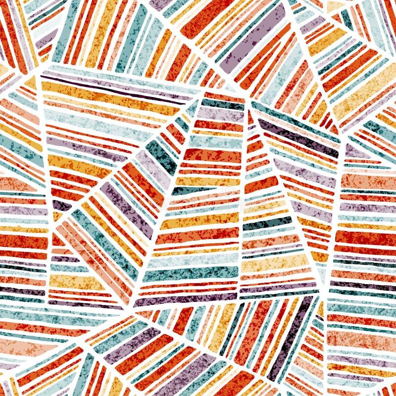 Mod?le sans couture dans le style de patchwork Formes rayées géométriques Ornement dessin? ? la main Copie lumineuse pour des tex illustration de vecteur
