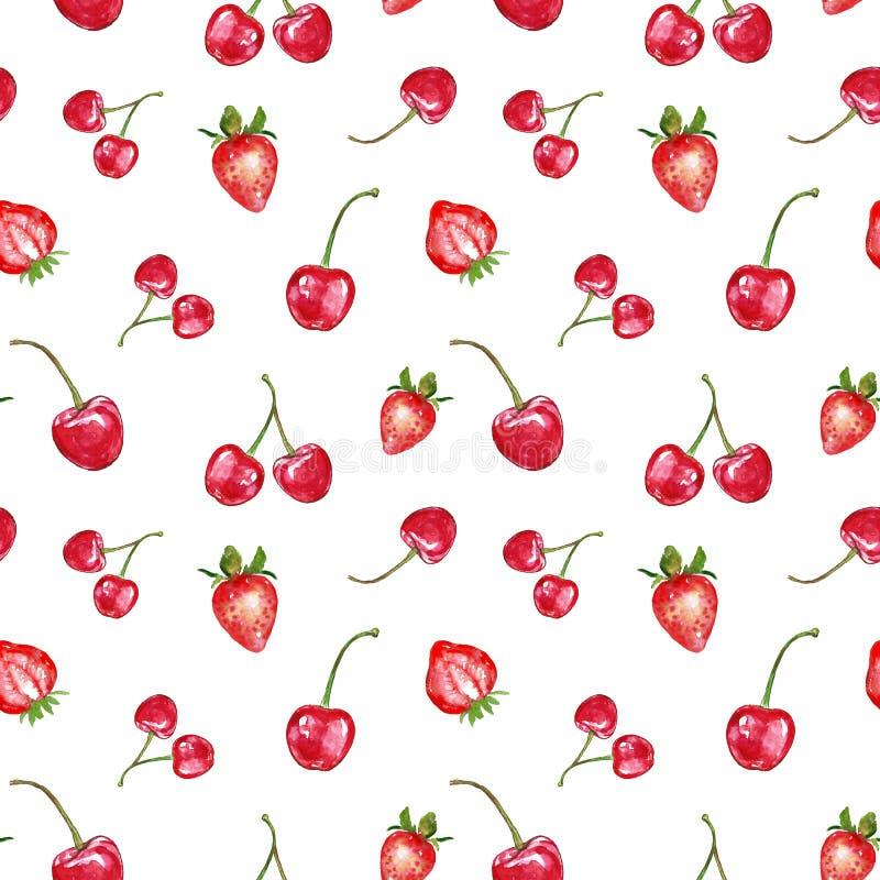 Mod?le sans couture de baies rouges d'aquarelle sur le fond blanc Les fruits frais d'?t? impriment E illustration stock