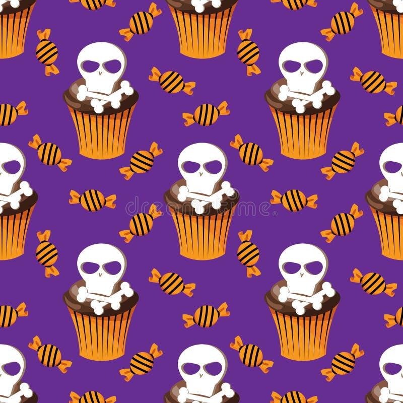 Mod?le sans couture de bonbons mignons ? Halloween illustration stock