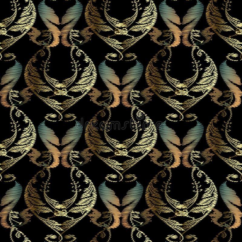 Mod?le sans couture de broderie baroque Fond texturis? ornemental de vecteur Ornement floral d'or de damassé de tapisserie dans l illustration libre de droits
