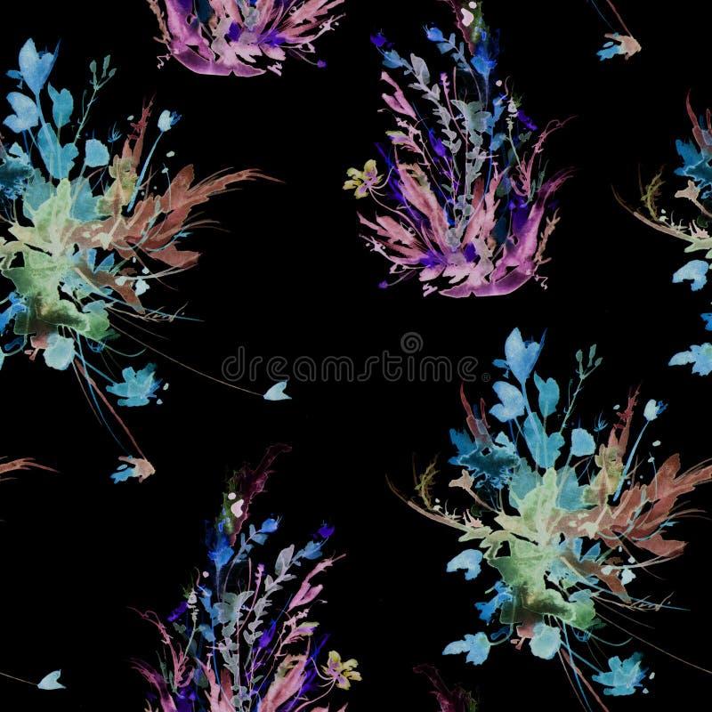 Mod?le sans couture de cru d'aquarelle, mod?le floral, rose, roses, pavot, bourgeons Usines, fleurs, herbe dans l'herbe florale e illustration libre de droits