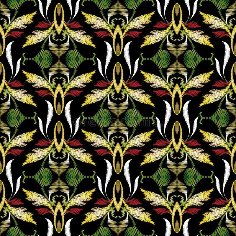 Mod?le sans couture de damass? de broderie Ornement floral de tapisserie colorée de vecteur Texture grunge Fleurs fleuries brodée illustration de vecteur
