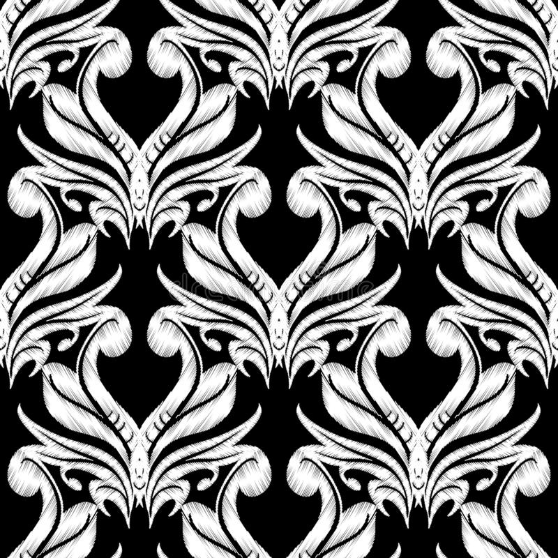 Mod?le sans couture de damass? de broderie Ornement floral de tapisserie noire et blanche de vecteur Texture grunge Cru brodé illustration stock