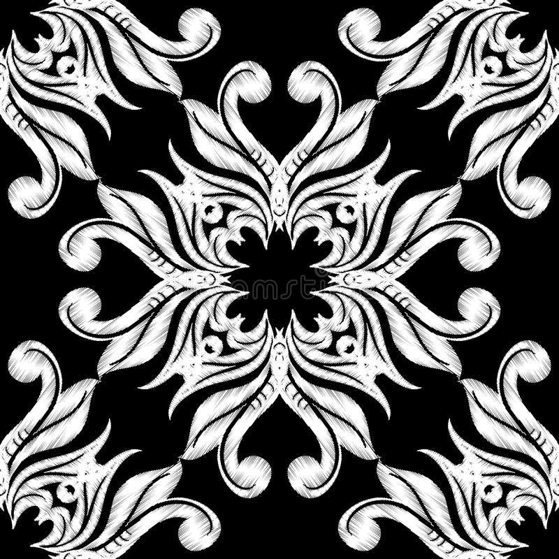 Mod?le sans couture de damass? noire et blanche de broderie r Contexte fleuri de tapisserie de répétition grunge illustration libre de droits