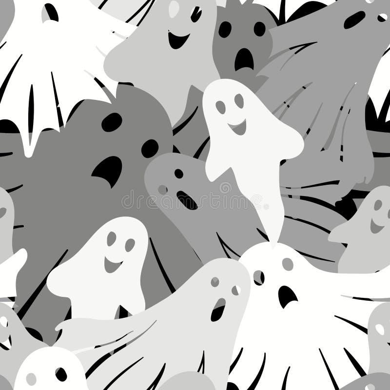 Mod?le sans couture de fant?mes de Halloween Illustration de vecteur dans le style de bande dessin?e illustration libre de droits