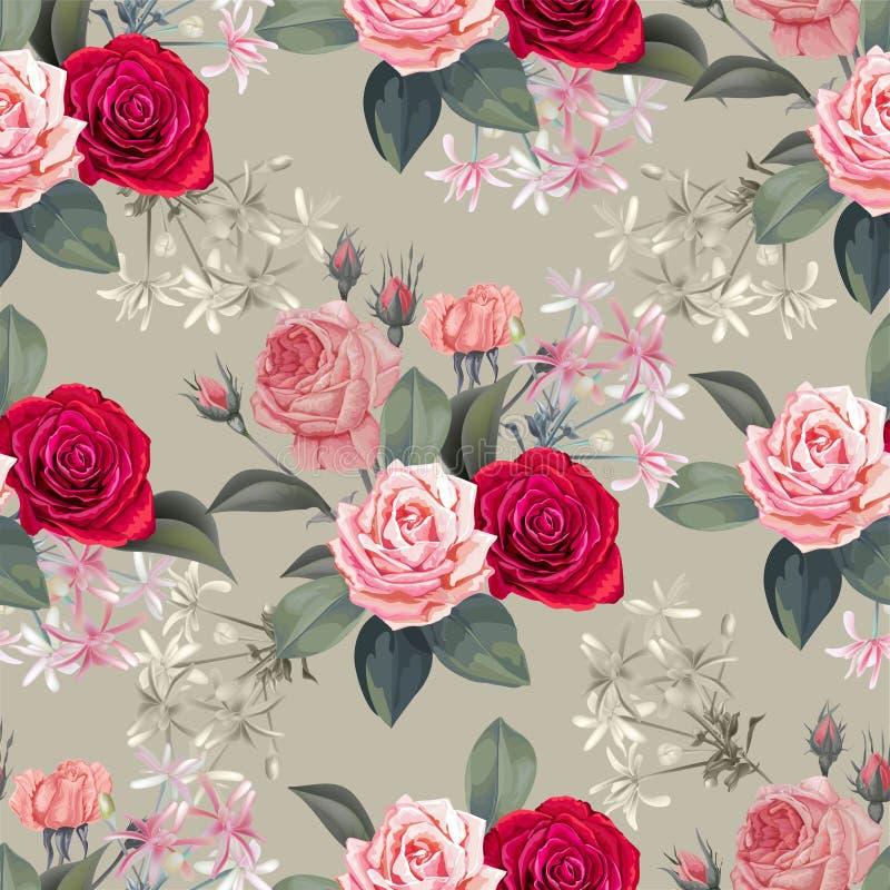 Mod?le sans couture de fleur avec des roses illustration de vecteur