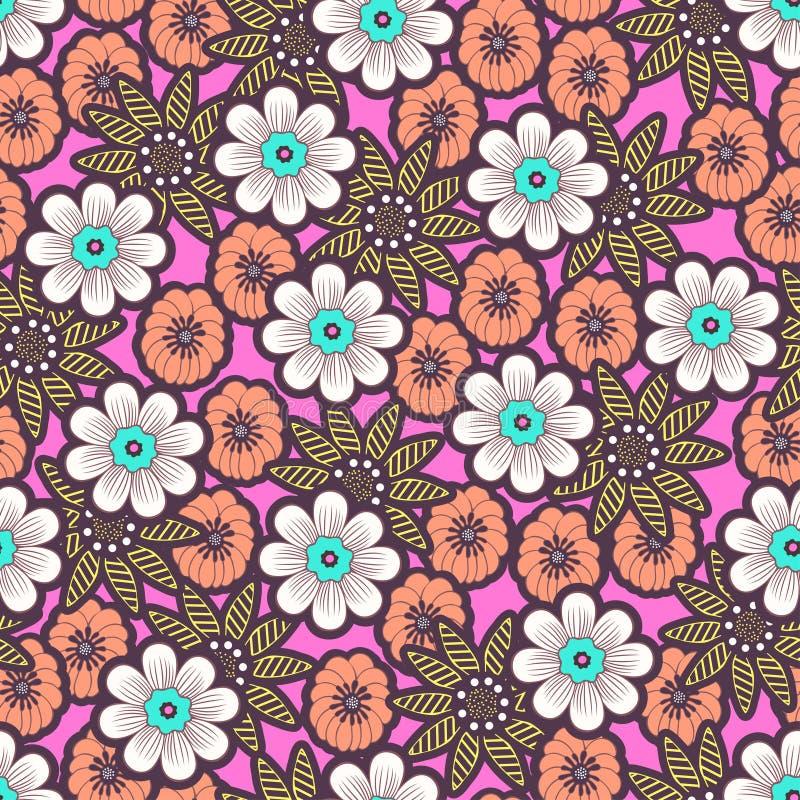 Mod?le sans couture de fleurs de griffonnage, fond floral color? Bourgeon floral blanc, de corail, jaune sur le contexte rose, de illustration stock